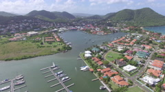 High angle view of Marina town and lake - St Lucia Stock Footage