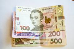 Ukrainian hryvnia banknotes Stock Photos