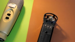 Microphones - Rotation - Bright - Green - Orange 01 Stock Footage