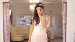 Girl happy to selected wedding dress - stock footage