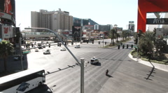 Large Intersection In Downtown Las Vegas Stock Footage