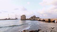 Sea Castle in Saida, Lebanon Stock Footage