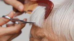 Hair stylist cutting senior woman's gray hair - stock footage