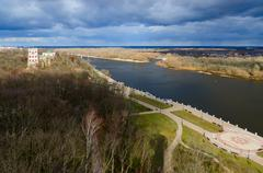 Top view of embankment of river Sozh, Gomel, Belarus - stock photo