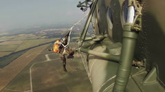 Paratroopers squad training parachuting skills Stock Footage