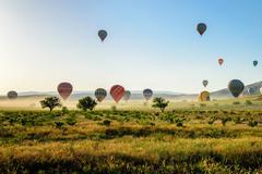 Hot air balloon over Cappadocia, Turkey - stock photo