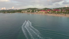 Speedboat and resort in St Lucia Stock Footage