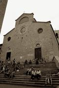 Church in Tuscany in San gimignano Italy main square - stock photo