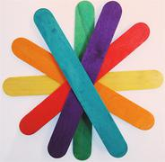 Colorful wooden popsicle sticks - stock photo