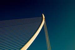Assut de l'Or Bridge suspension bridge in Valencia Spain - stock photo