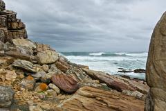 Cape of Good Hope and ocean in South Africa with storm weather - stock photo