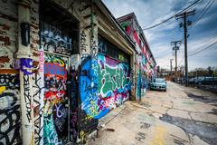 Graffiti Alley, in the Station North District of Baltimore, Maryland. Stock Photos