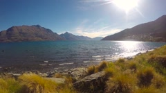 Video of Queenstown New Zealand Lake and Mountain - stock footage