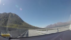 Hyperlapse video of driving between mountains in South Island New Zealand Mount Stock Footage