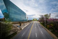 View of Howard Street from Mount Royal Avenue, in Baltimore, Maryland. Stock Photos