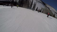 GoPro skiing to and getting on a chairlift POV UGC sunny day Park City Utah USA Stock Footage