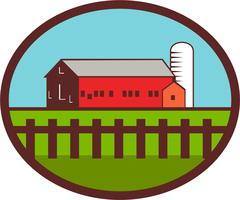 Farm Barn House Silo Oval Retro Stock Illustration