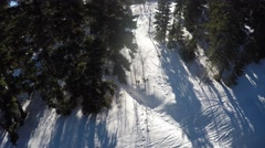 GoPro view of winter mountain forest from aerial Park City Utah USA Stock Footage