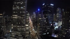 Time-lapse of NYC New York City 8th Ave sky Scrapers Night time Midtown Stock Footage