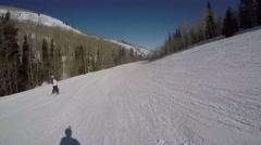 GoPro shadow skiing runoff sunny day POV UGC Park City Utah Stock Footage