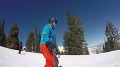 GoPro Man skiing down hill then takes a selfie UGC Park City Utah USA Stock Footage