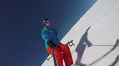 GoPro Man skiing down hill UGC Park City Utah USA Stock Footage