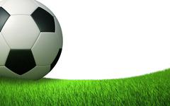 Soccer ball close up on the lawn Stock Illustration