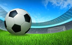 Soccer ball close up in front of the gate at the stadium Stock Illustration