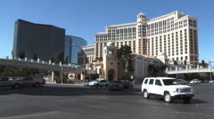 Las Vegas Blvd Intersection At The Bellagio Stock Footage