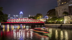 Timelapse of Anderson Bridge and Boats in Singapore Stock Footage