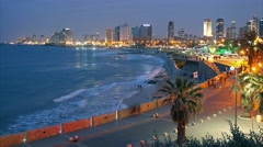 Tel Aviv. Night view from Jaffa - stock footage