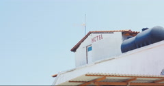 Word Hotel Written on the Building Attic - stock footage
