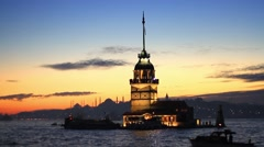 Maidens Tower, Istanbul. Kiz Kulesi in the early evening light - stock footage