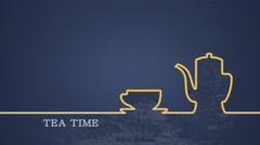 Tea cup with teapot flat shape animation on dark blue - stock footage