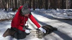 Young woman petting huski dog - stock footage