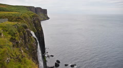 Waterfall at Kilt Rock in Quiraing, Scotland Stock Footage