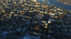 Aeril of old town in the winter Stock Footage