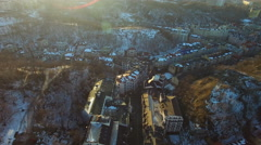 Aeril of old town between the hills in the winter. Stock Footage