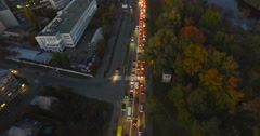 Peak hour in evening city - traffic, cars on the avenue Stock Footage