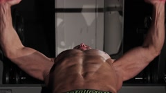 Male athlete Breasts dangle barbell - stock footage