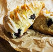 Homemade Blueberry scone breakfast close up - stock photo