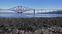 Firth of Forth Bridge in Scotland Stock Footage