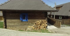 Emir Kusturica wooden city Kustendorf Timber town village. Stock Footage