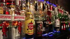 Bottles  in gastrobar HOUDINI. Stock Footage