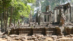 Close up from a side of the Bayon Khmer temple at Angkor Wat Cambodia Stock Footage