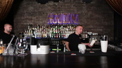 barman show  in gastrobar HOUDINI - stock footage