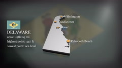 3D animated Map of Delaware Stock Footage