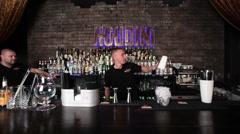 Barman show  in gastrobar HOUDINI Stock Footage