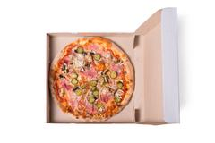 Top view of tasty Italian pizza with ham, in delivery box Stock Photos