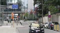 Taxi driving from  European Parliament building in Brussels, Belgium Stock Footage
